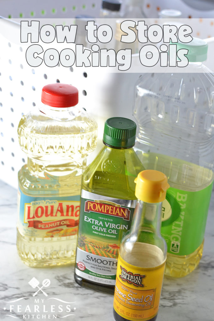 How to Store Cooking Oils from My Fearless Kitchen. Almost every recipe uses some kind of cooking oil. Are you storing your cooking oils in the right place? Correct storage will help keep your oils fresh.