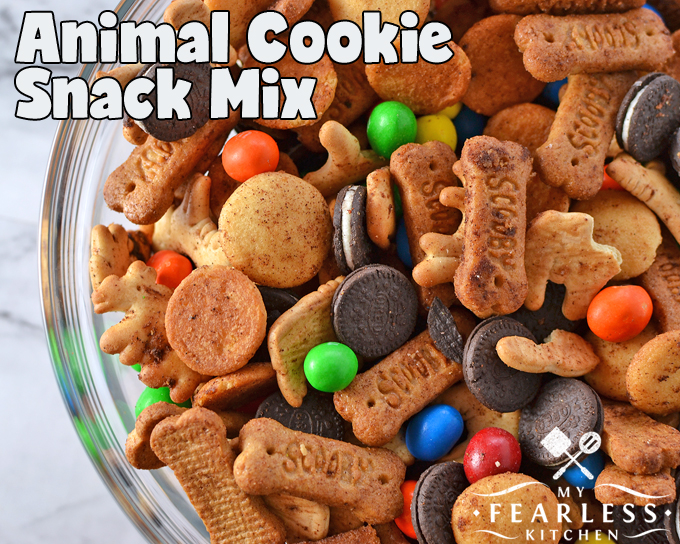 Animal Cookie Snack Mix from My Fearless Kitchen. Do you need something to feed some hungry kids (or adults!) in a hurry? This easy Animal Cookie Snack Mix is ready in less than 5 minutes, and is sure to please!