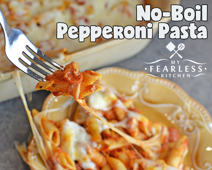 No-Boil Pepperoni Pasta. Change up your regular pizza night with this easy No-Boil Pepperoni Pasta. It bakes up quickly in your oven, and you don't even need to boil the noodles first!