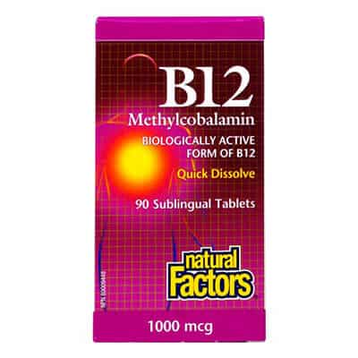 Natural Factors, Витамин B12 Метилкобаламин 1000 мкг. х 90 таблетки