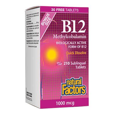 Витамин В12 Метилкобаламин 1000 мкг x 180 таблетки + 30 подарък,