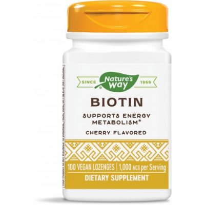 Nature's Way, Биотин 1000 мкг х 100 дъвчащи таблетки