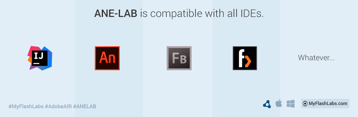 ANE-LAB is compatible with all IDEs