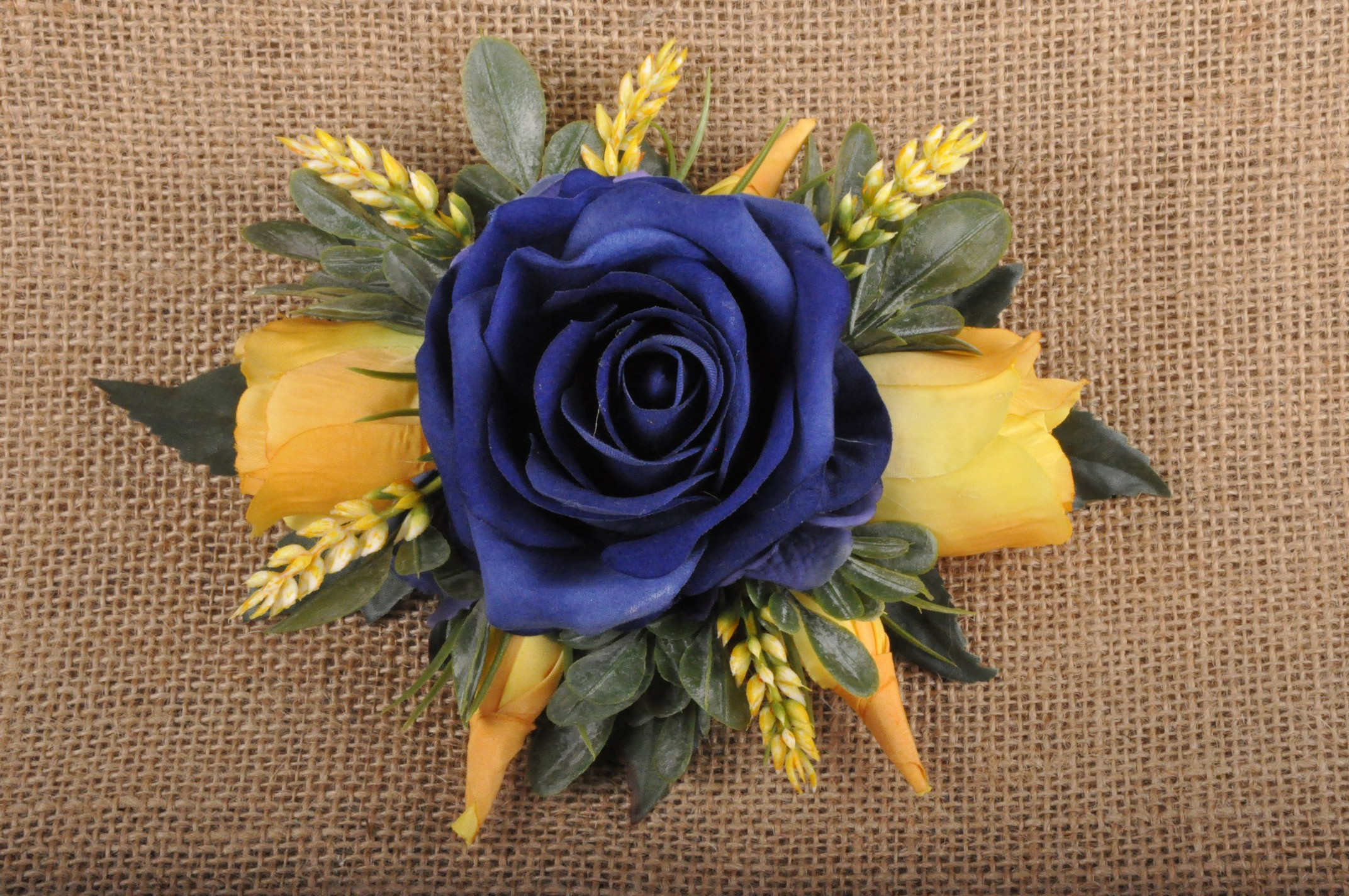 Navy Blue Gold Yellow Rose Floral Slide Comb Fascinator Wedding ... 62da0cfe74f