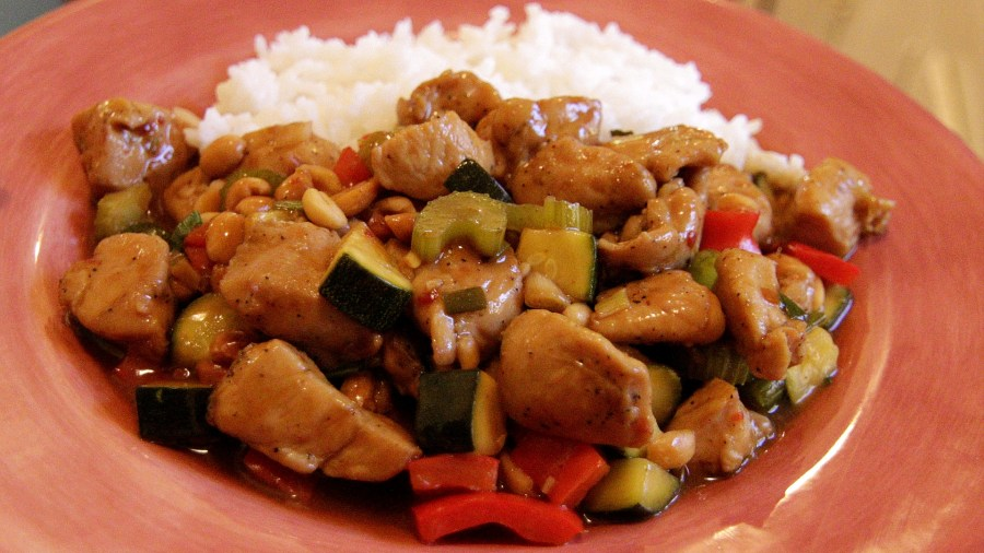 Kung Pao Chicken with rice.