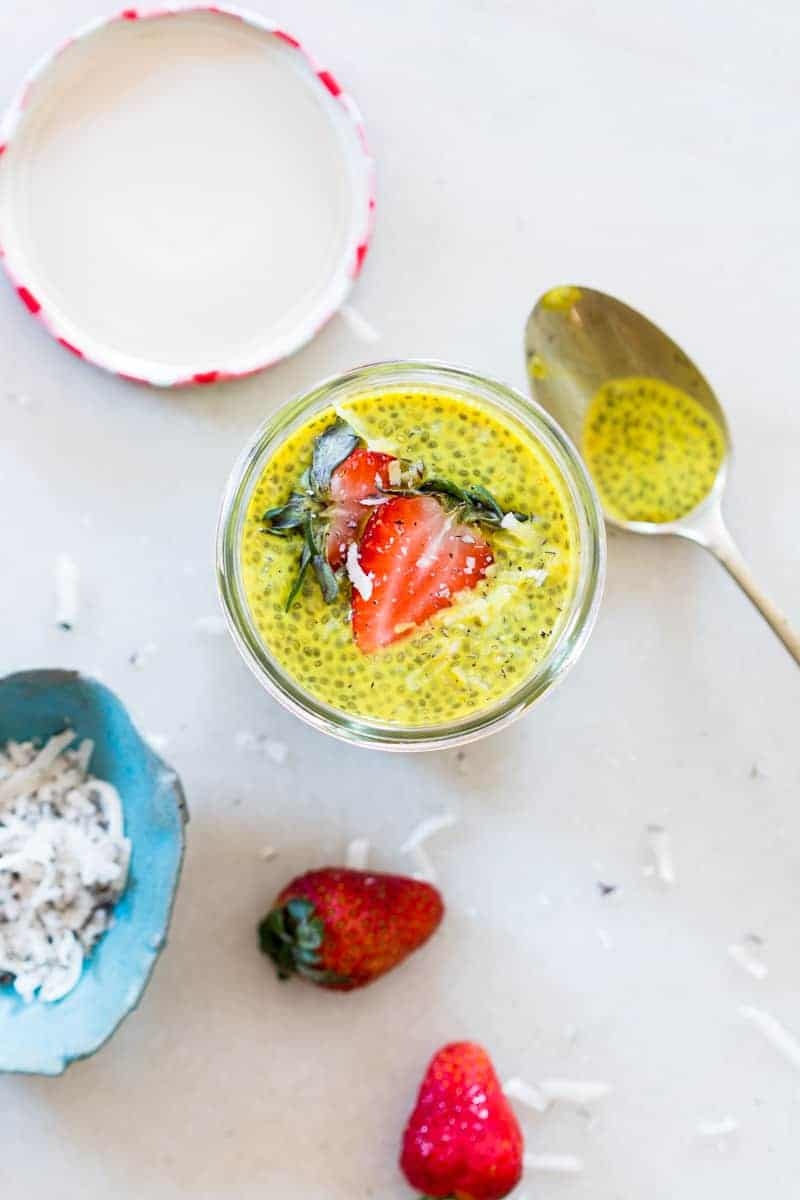 Get the anti-inflammatory benefits of turmeric and the health benefits of chia seeds, a super food in this delicious, creamy golden turmeric milk chia seed pudding. This is super breakfast!