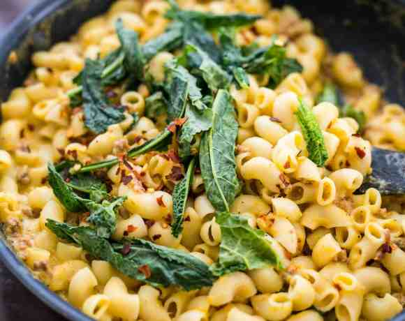 Creamy Pumpkin Sausage Mac and Cheese with Kale (Video Recipe)