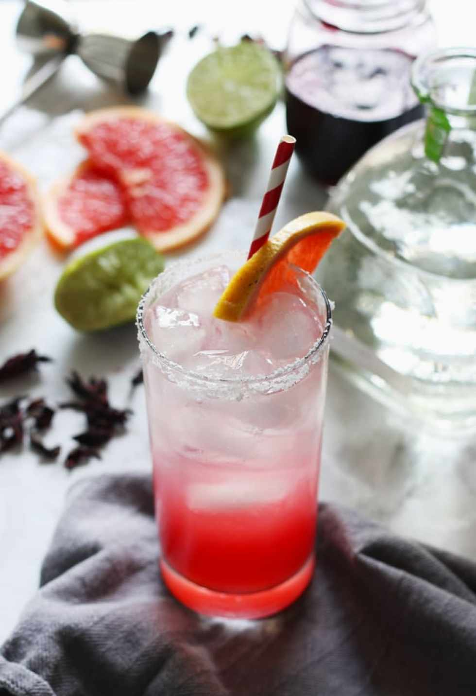 Another Paloma to beat the heat, with a twist of grapefruit juice, lime and hibiscus extract.