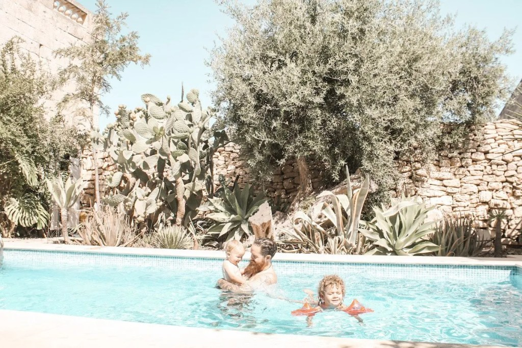 malta airbnb with kids in the pool