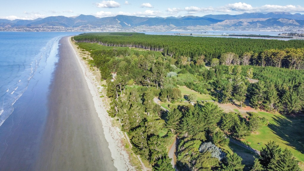 Drone photo over Rabbit Island - a popular destination for day trips for the locals of Nelson