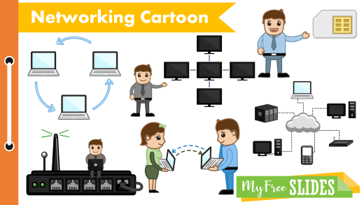 Computer Networking Cartoon Clipart