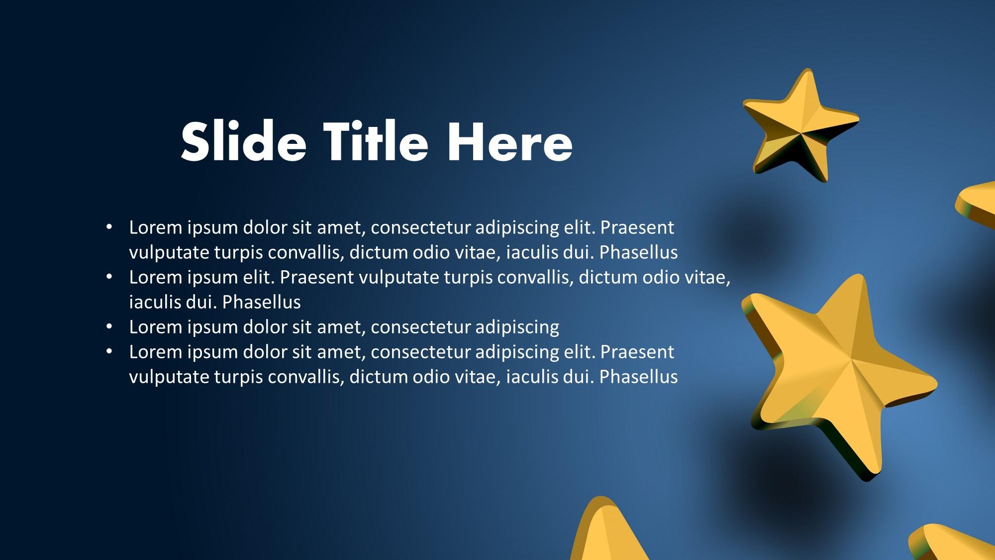 golden stars ppt slide