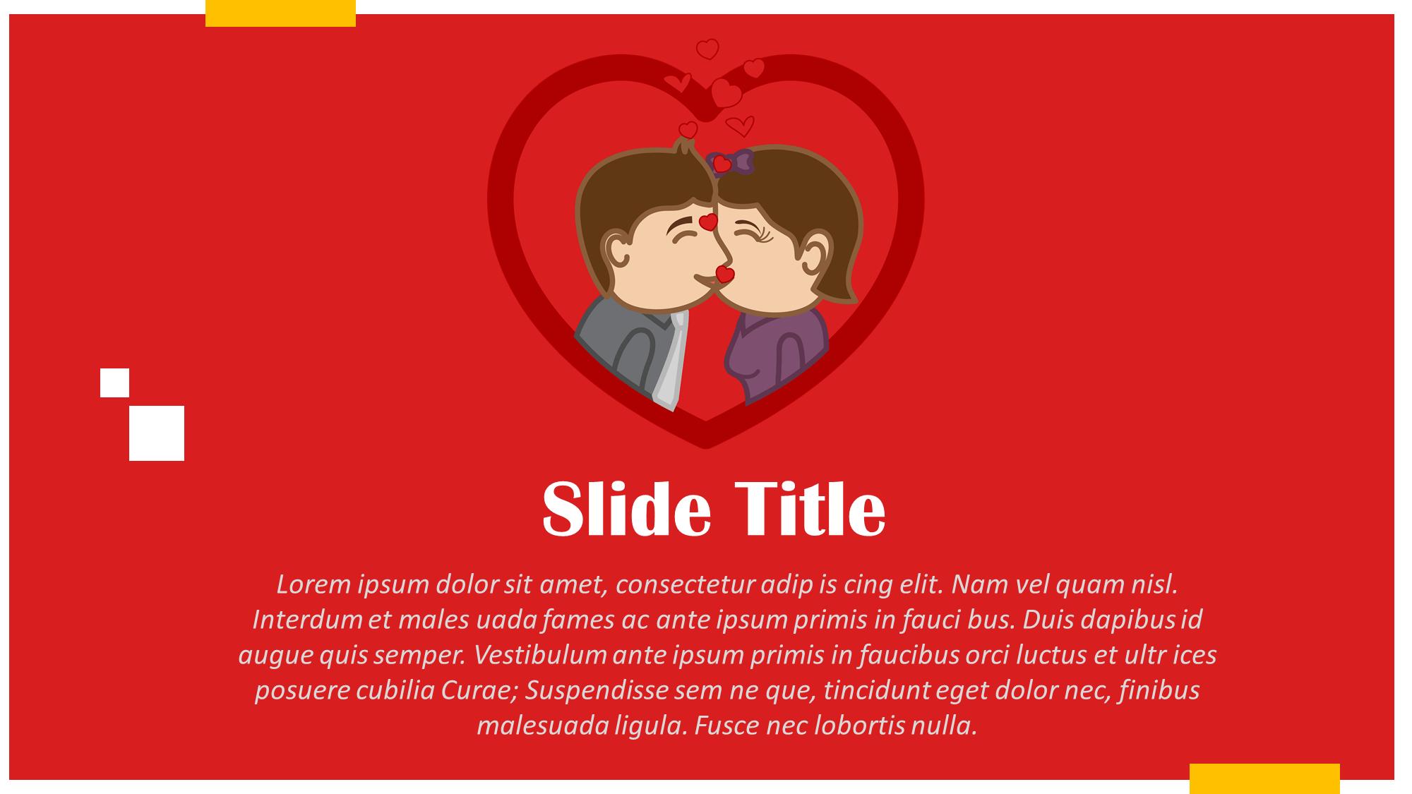 kissing in heart cartoon couple slide