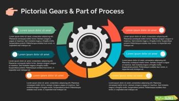 Pictorial Gears & Part Of Process Infographic Slide Dark