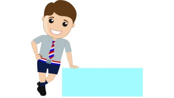 cartoon school boy banner