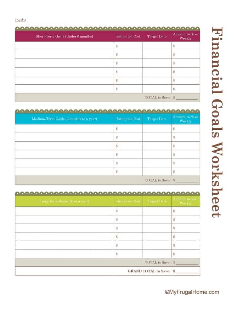 Printable Financial Goals Worksheet