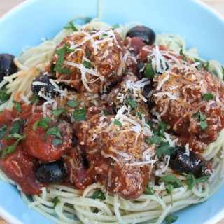 Meatballs in Chorizo & Black Olive Sauce