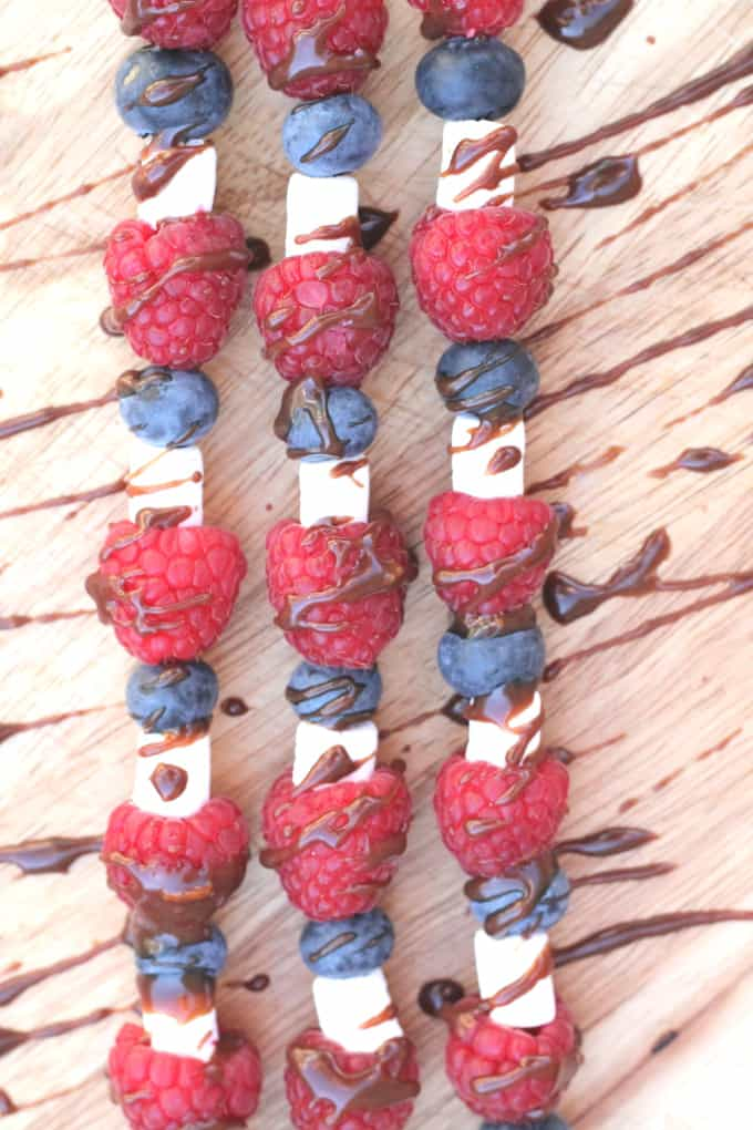 4th July Fruit Skewers with Chocolate Orange Sauce
