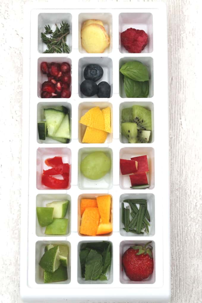 fruit and herb ice cubes