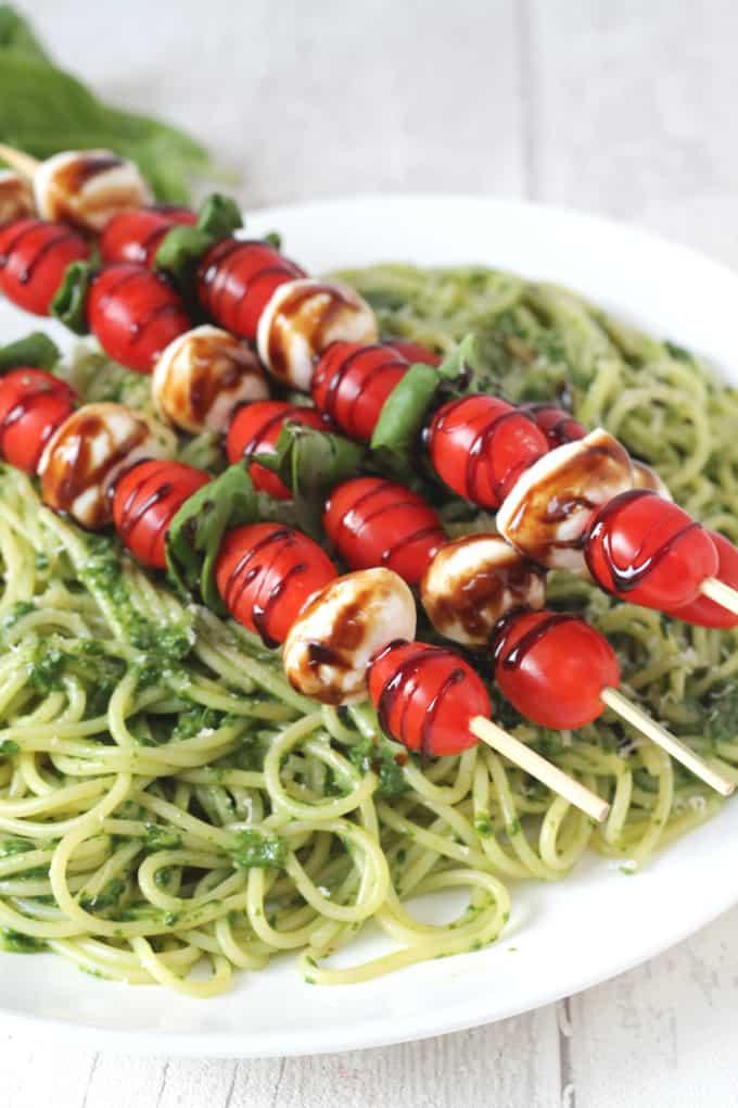 Pasta with Caprese Skewers
