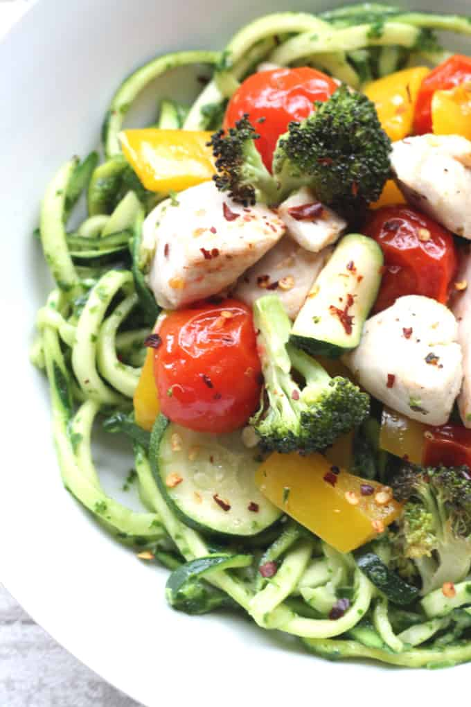 courgetti with roasted vegetables