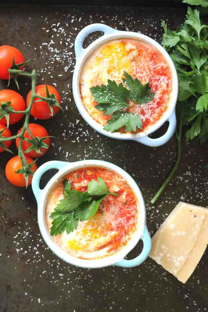 baked eggs with tomato and chorizo