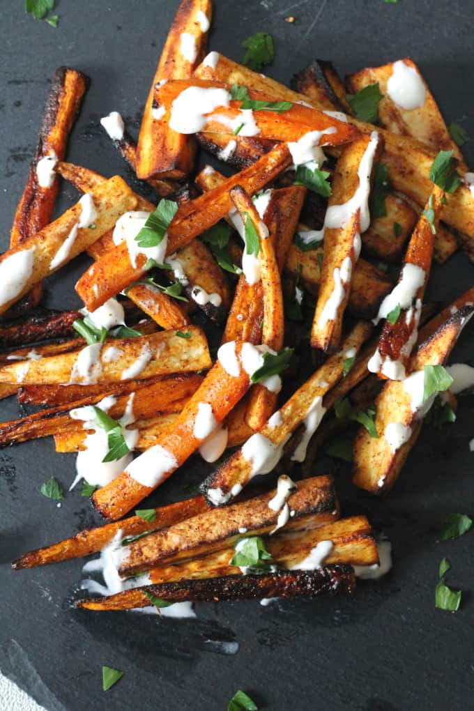 carrot parsnip fries creme fraiche