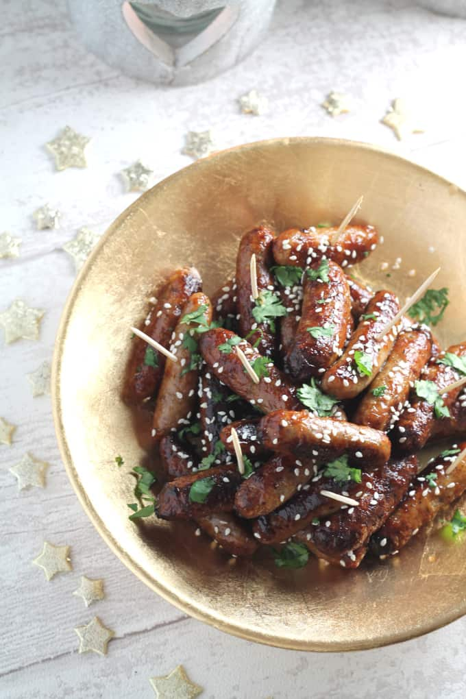 sticky asian cocktail sausages christmas