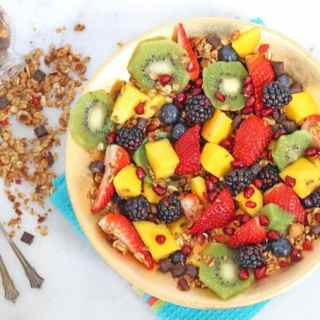 Fresh Fruit Salad with Choc Chip Granola & Honey Lime Dressing