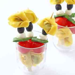 Caprese Tortellini Skewers with Tomato & Basil Dip