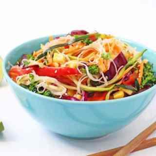 Rainbow Veggie Rice Noodle Salad