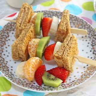 Peanut Butter Toast & Fruit Breakfast Kebabs