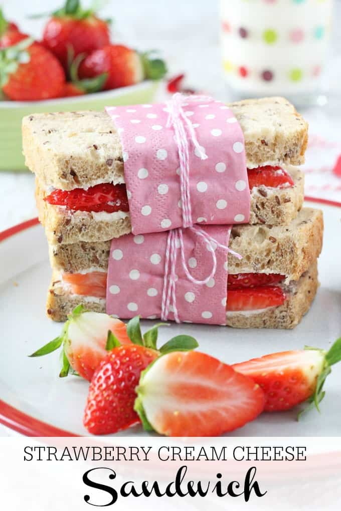 A delicious and healthy lunch idea for kids. Wholemeal sandwiches filled with strawberries and cream cheese! My Fussy Eater blog