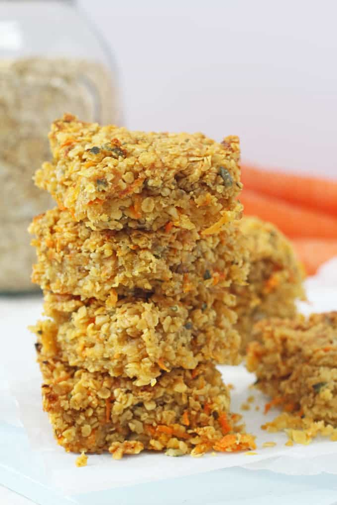Delicious savoury flapjacks packed full carrots, cheese, nuts and seeds. A really great healthy snack for kids! My Fussy Eater blog