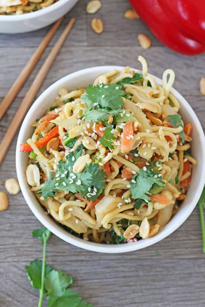 A super quick, easy and healthy family meal ready in just 5 minutes. You won't believe just how simple this Satay Vegetable Noodle recipe is to whip up. Its also vegetarian and vegan friendly too!