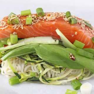 Sesame Salmon Noodle Parcels