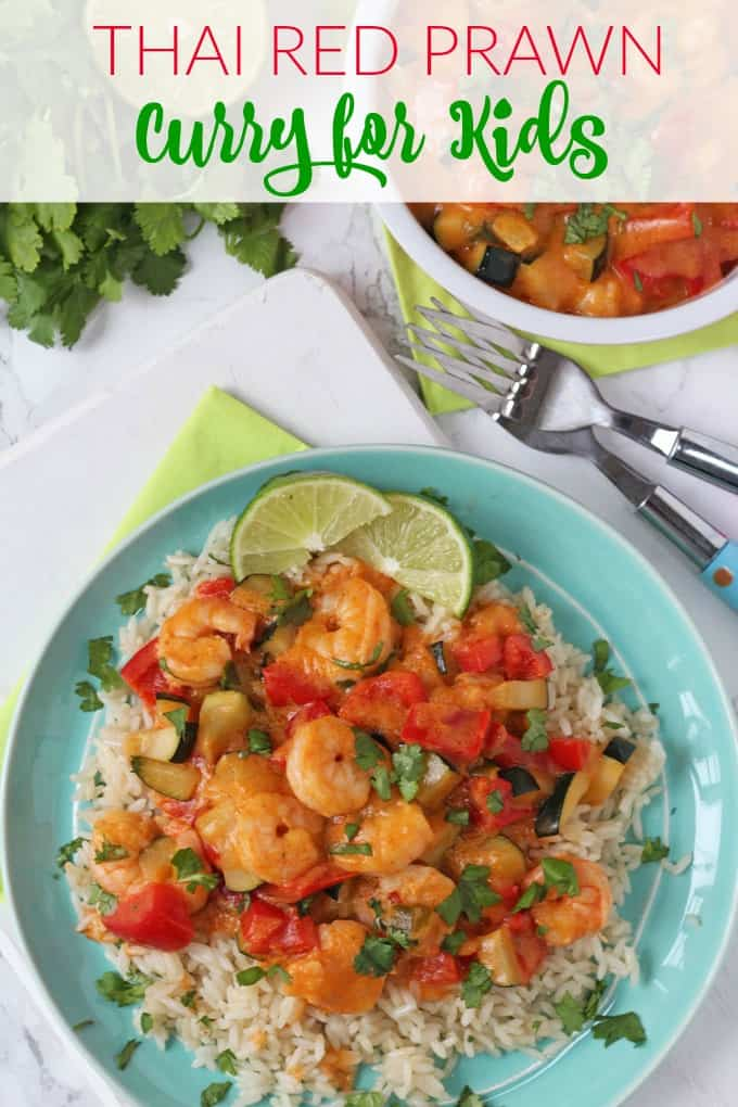 A quick, easy and super tasty Thai Red Curry recipe with prawns that's mild enough for kids. A new family favourite for sure!