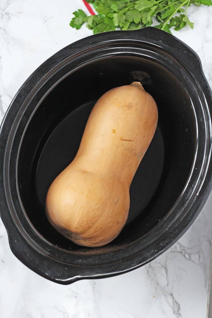 Did you know that you can cook a whole butternut squash in the slow cooker or crockpot? Super simple and it saves all that hassle trying to cut it raw!