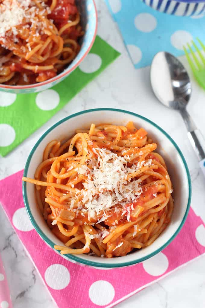 Tip in the spaghetti and use tongs to toss well, adding a splash of the pasta water to loosen, if needed. Kid: Serve with the reserved basil leaves sprinkled over the top and finely grate over the Parmesan cheese.