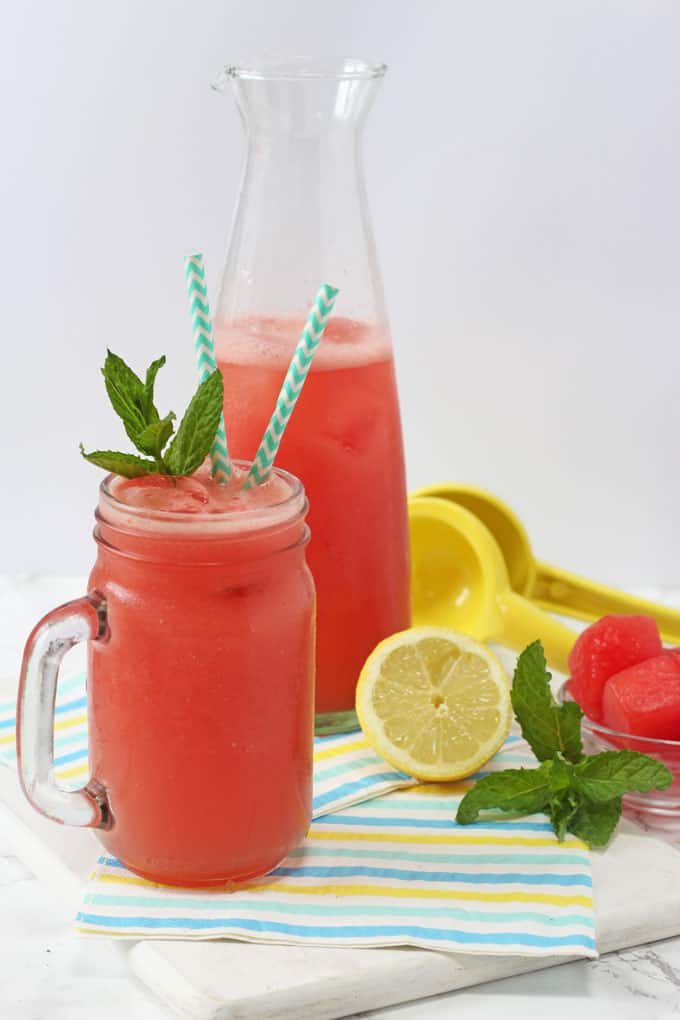 This Watermelon Lemonade makes a really refreshing and healthy drink for kids this summer. Easy to make with just a few natural ingredients!