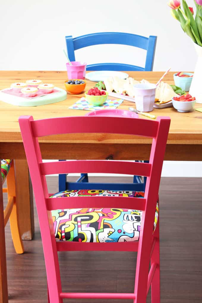 Beautiful bespoke chairs and barstools from Cheeky Chairs. Perfect for adding a splash of colour to your kitchen!