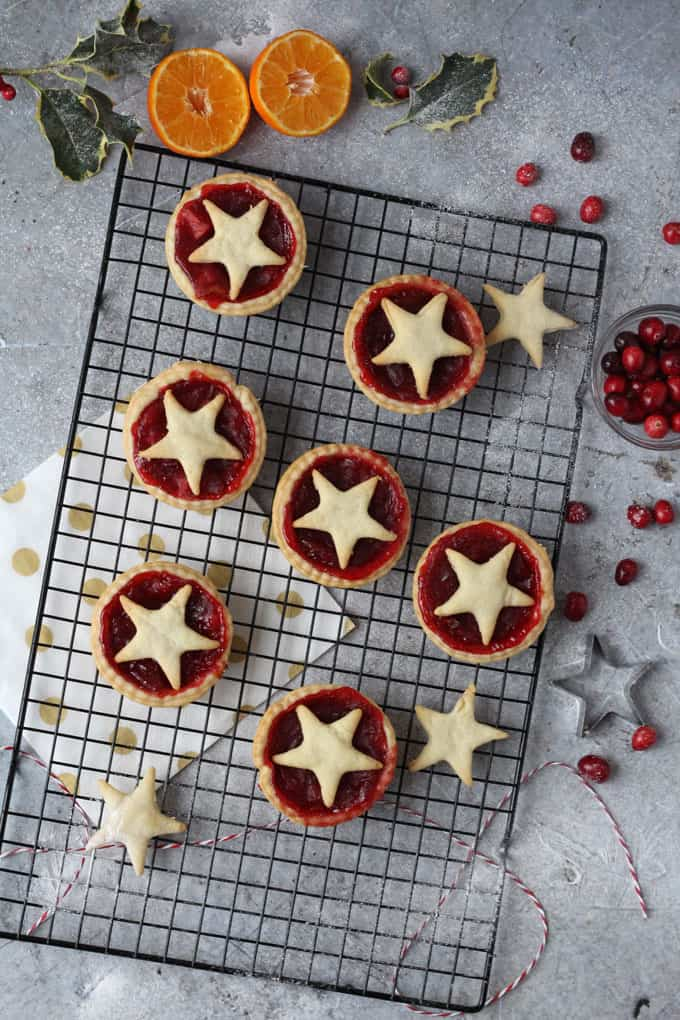 Delicious individual shortcrust pastry pies packed with cranberry, orange and apple. Perfect for Christmas and a great alternative to mince pies!