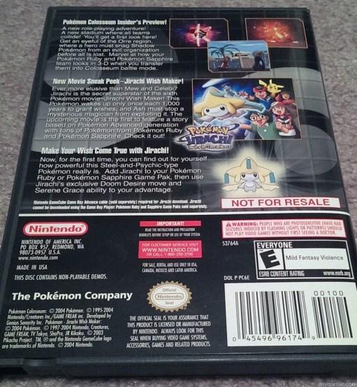 Not for Resale Forgotten Relics: Pokemon Colosseum Bonus Disc (GC) FORGOTTEN RELICS – Pokemon Colosseum Bonus Disc (GC) Pokemon Colosseum Back of BOx 947x1024