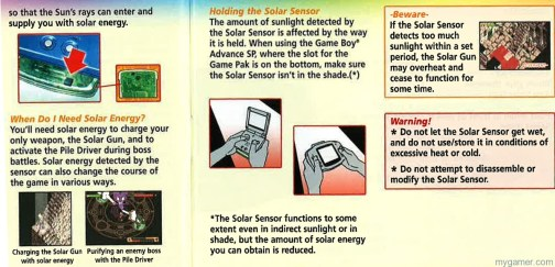 Instruction Book scan Boktai: The Sun Is In Your Hands 10th Anniversary Boktai: The Sun Is In Your Hands 10th Anniversary Boktai Inst Sensor