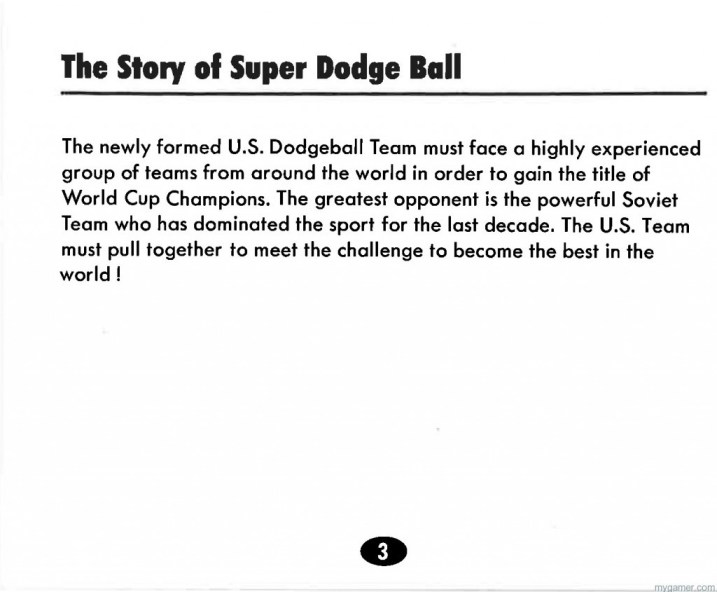 Super D Ball actually had a story line Super Dodge Ball (NES) Backstory and Character Full Names Super Dodge Ball (NES) Backstory and Character Full Names Super Dodge Ball Instruction Scan3 1024x846