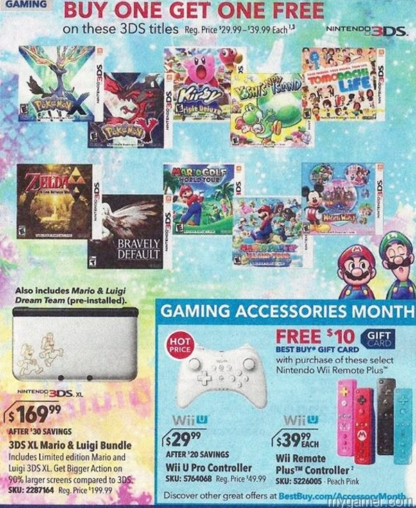 BestBuy B1G1 3DS Leaked Best Buy Ad Reveals B1G1 Free 3DS Games Next Week + Discounted Wii U Controllers Leaked Best Buy Ad Reveals B1G1 Free 3DS Games Next Week + Discounted Wii U Controllers BestBuy B1G1 3DS