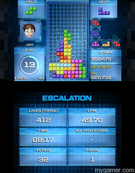 The bottom screen tracks stats Tetris Ultimate 3DS Review Tetris Ultimate 3DS Review TU 3DS Escalation 3 1415817550