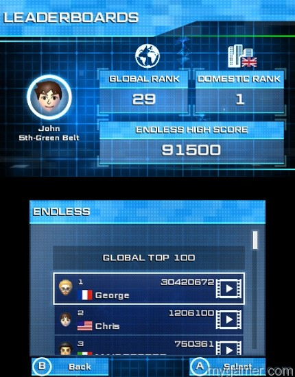 Rank up on the online leaderboards Tetris Ultimate 3DS Review Tetris Ultimate 3DS Review TU 3DS Leaderboard Endless 1415817600