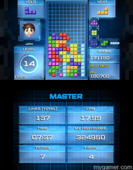 The boxed retail version sells for $30 while the digital eShop downloadable version is $20.   Tetris Ultimate 3DS Review Tetris Ultimate 3DS Review TU 3DS Master 2 1415817617