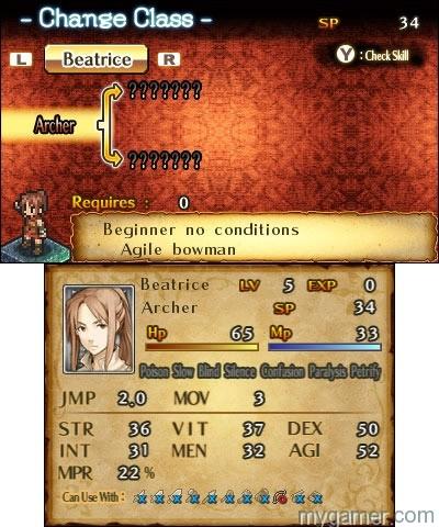 Mercenaries Saga 2 menu screen